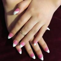 23+ Pink & White Nail Art Designs, Ideas