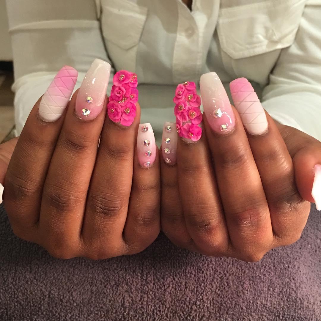 23+ Pink & White Nail Art Designs, Ideas