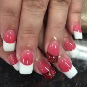 pink & white nail art design