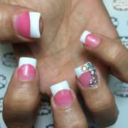 pink & white nail art design