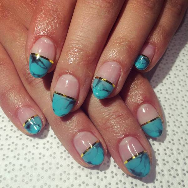 Turquoise Purple Nail Designs