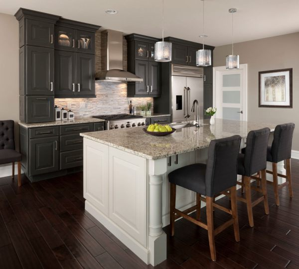 Grey Cabinets with Dark Wood Kitchen Island