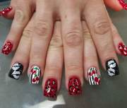 red acrylic nail art design