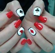 red acrylic nail art design