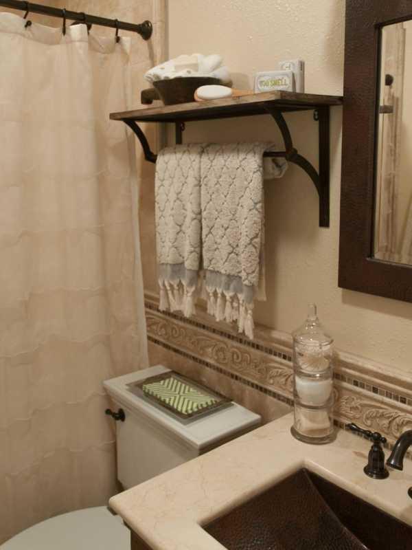Rustic Bathroom Shelves Over Toilet
