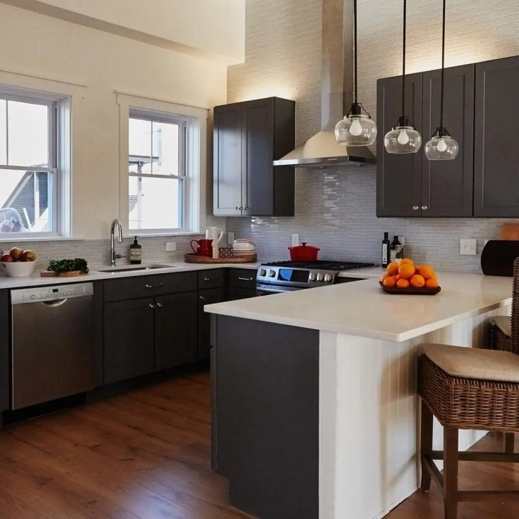 huge kitchen with grey cabinets