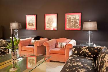 room living pink armchairs hgtv designs dramatic space decorating rooms interior rebecca