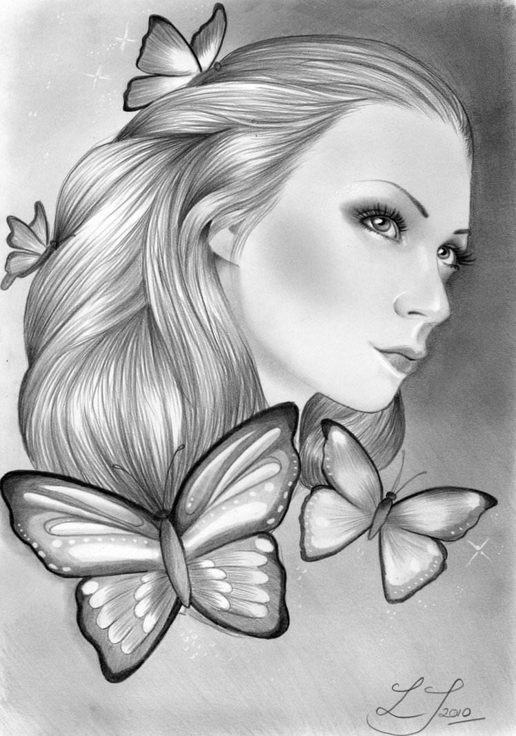 Long Hair Girl Cartoon Hand Painted Wallpaper 18 Butterfly Drawings Art Ideas Design Trends