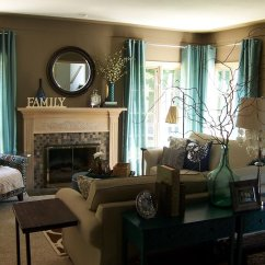 Teal Accents Living Room Pictures Of Rooms With Brick Fireplaces 22 Designs Decorating Ideas Design Trends Contemporary Curtains