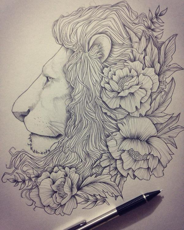 Lion Drawing Art Ideas Sketches Design Trends - Premium Psd Vector