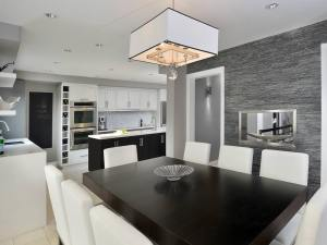 dining kitchen shaped modern textured layouts hgtv kitchens designs galley metallic layout rooms walls shape living decorating decor gray wall