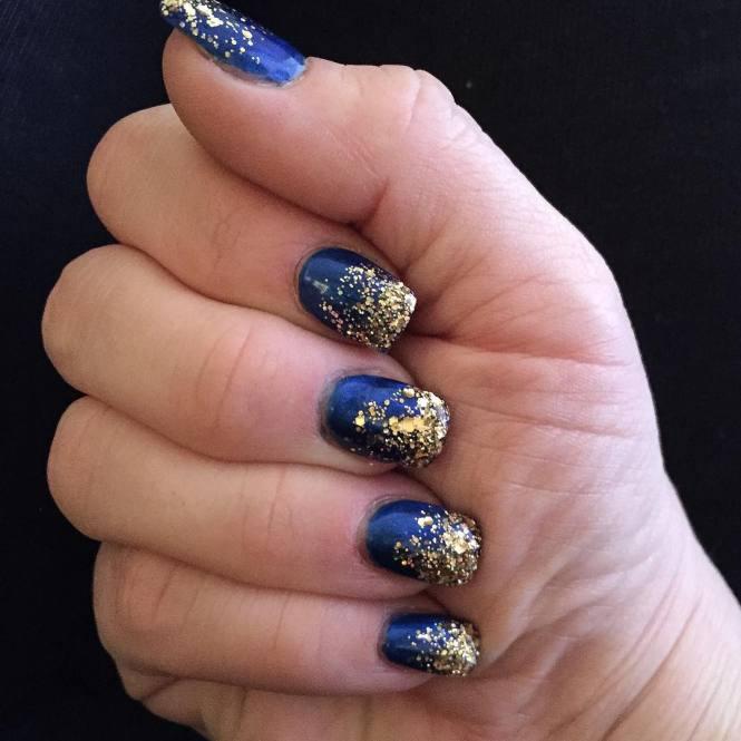 Leaf Dark Blue Nail Design