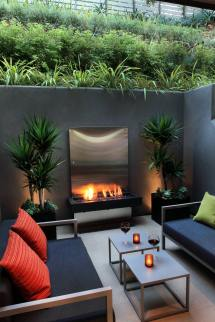 Modern Outdoor Patio Designs with Fireplace