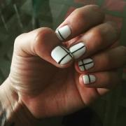 white and black nail art design