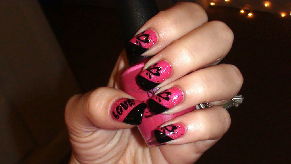Pink And Black Valentines Day Nail Art