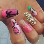 colourful acrylic nail art