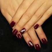 dark red nail art design