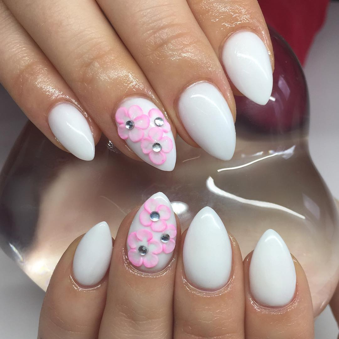 Pink Flower 3d Pointed Nail Art