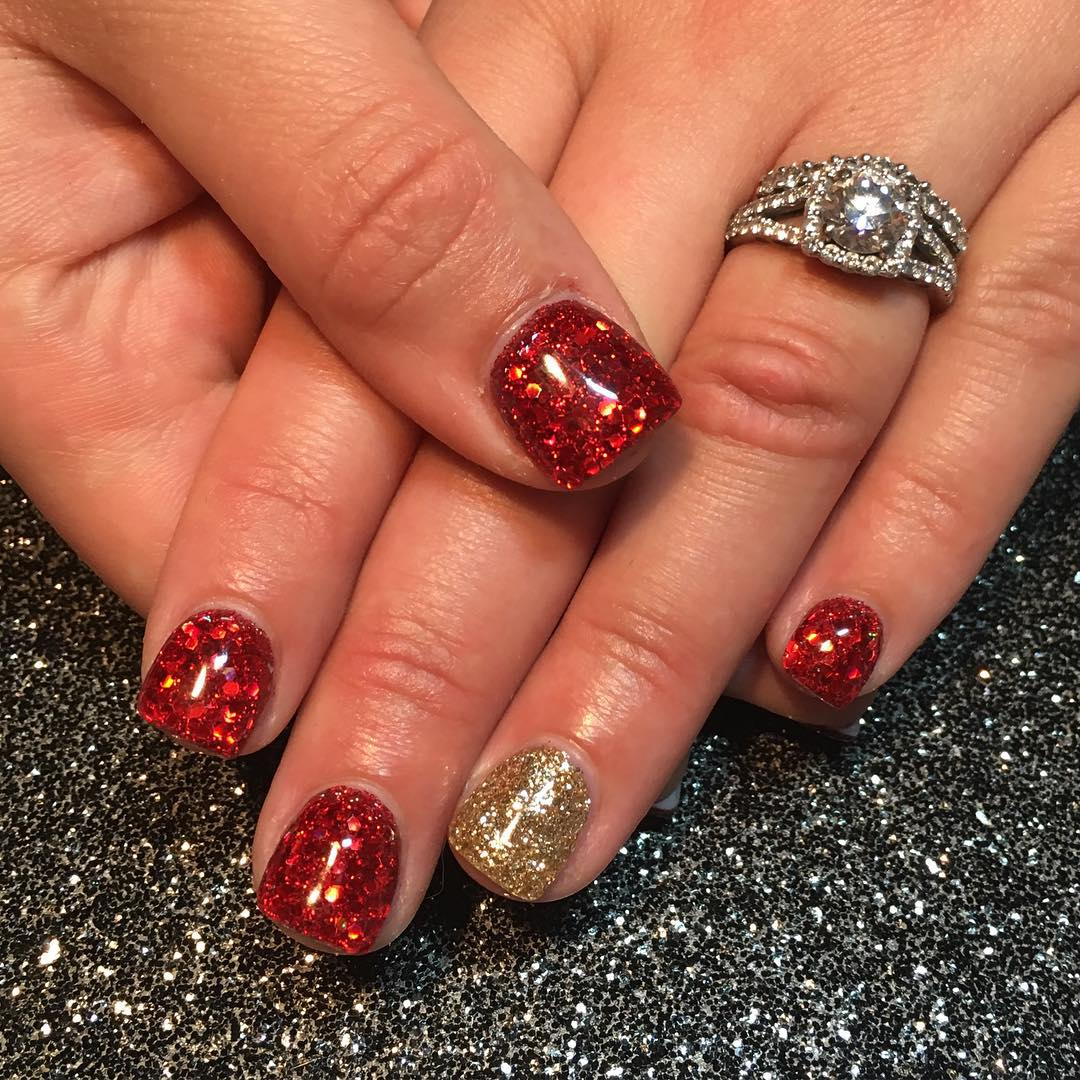 Red And Gold Nail Art For Square Nails