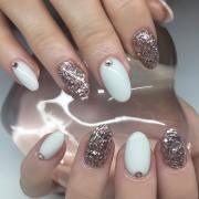white acrylic nail art design