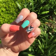 summer acrylic nail art design
