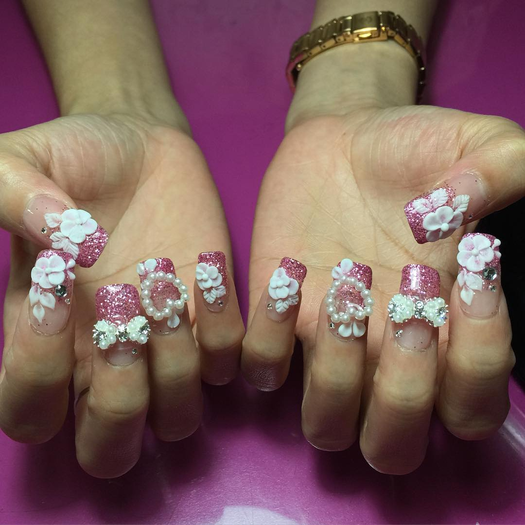 Attractive 3d Nail Art For Wedding