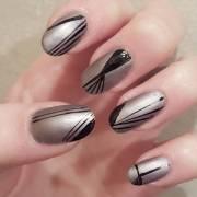 silver acrylic nail art design