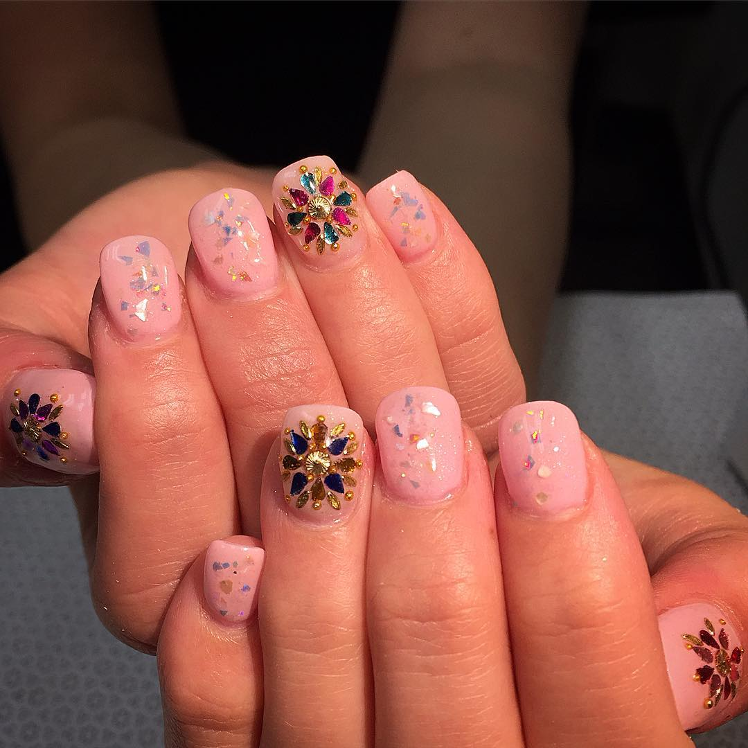 Colorful Stones Flower Design Nail Art For Medium Nails