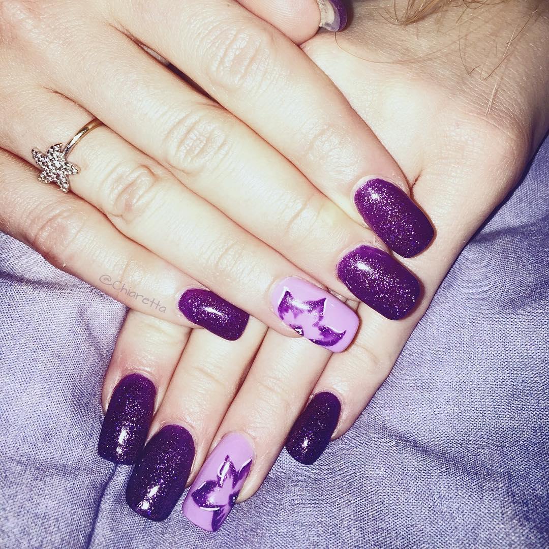 Dark Purple Glitter Nail Art