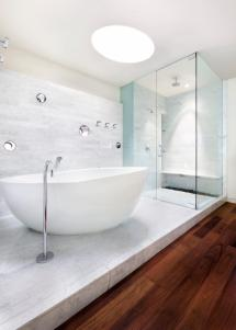 White Bathroom with Tub Design Ideas