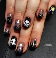 black acrylic nail art design
