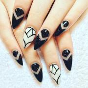 black and white acrylic nail