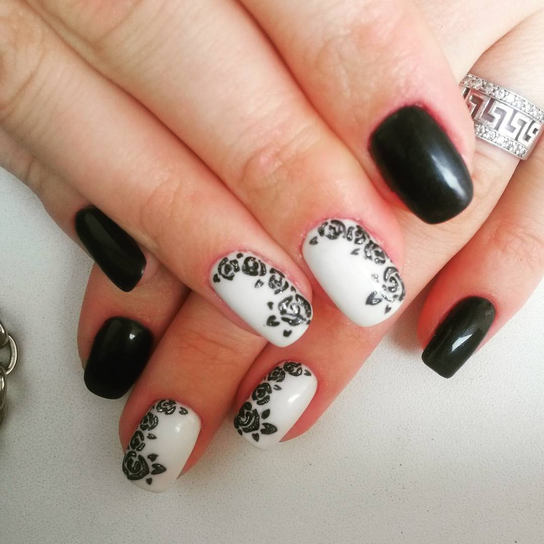 Black And White Bination Nail Art Trend