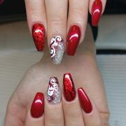 red and silver glitter nail