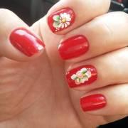 red summer nail art design