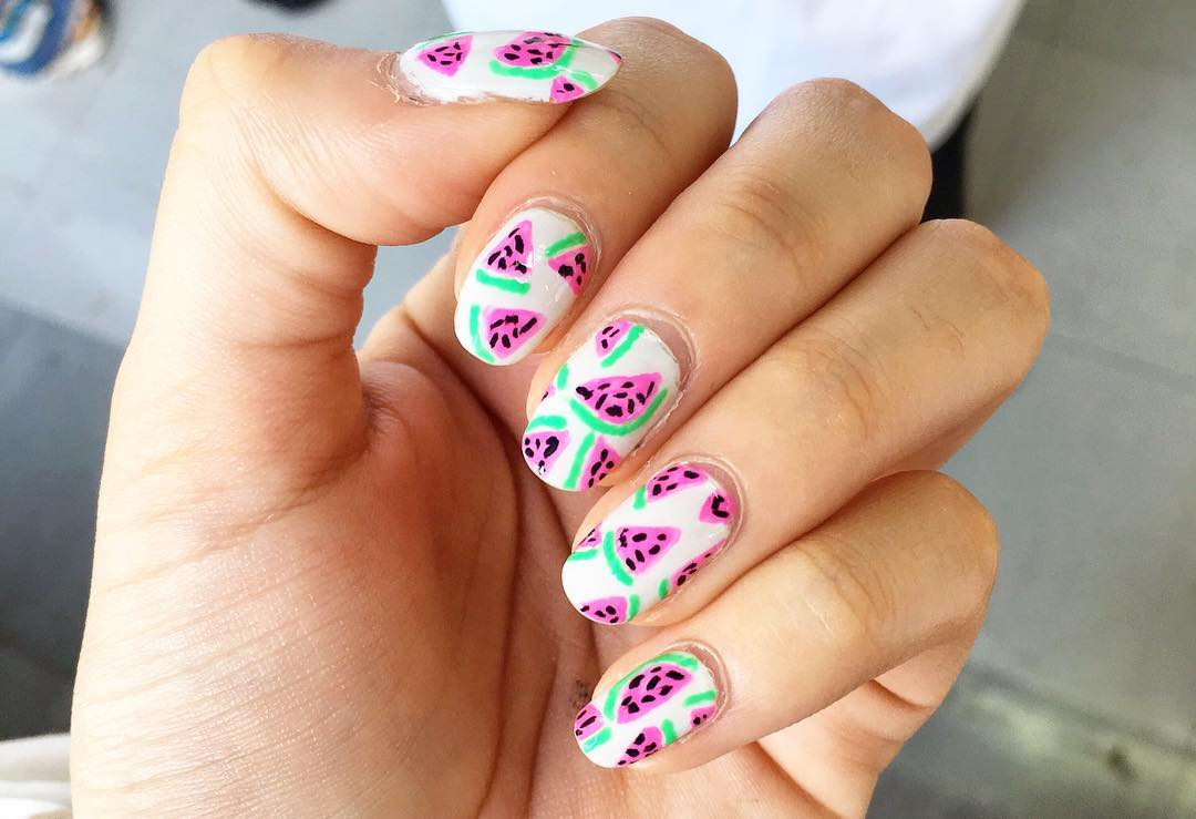 Pink Watermelon Nail Design Idea