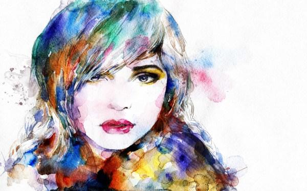 Girl Faces Watercolor Paintings