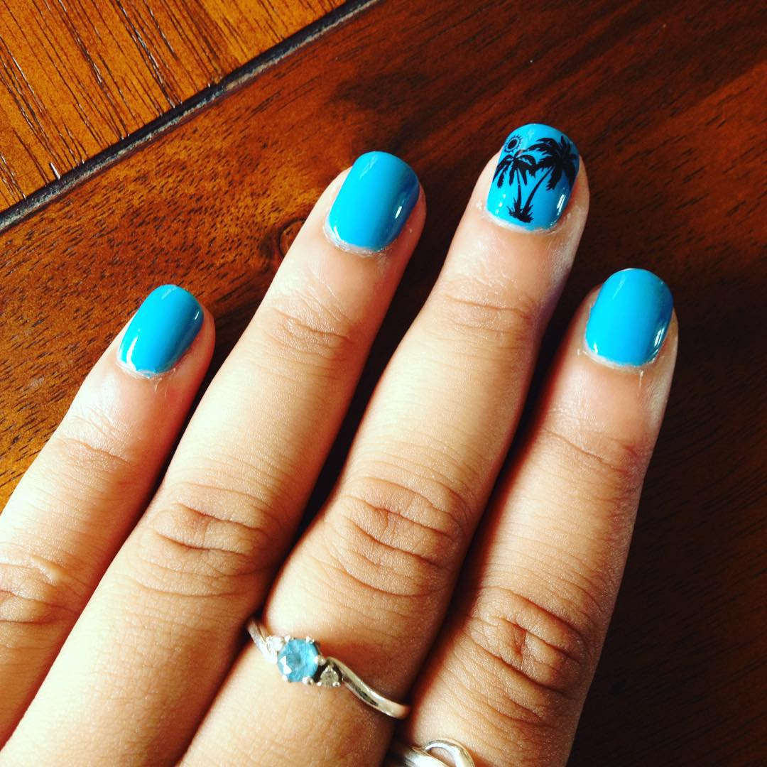 Blue And Black Nail Design For Square Nails