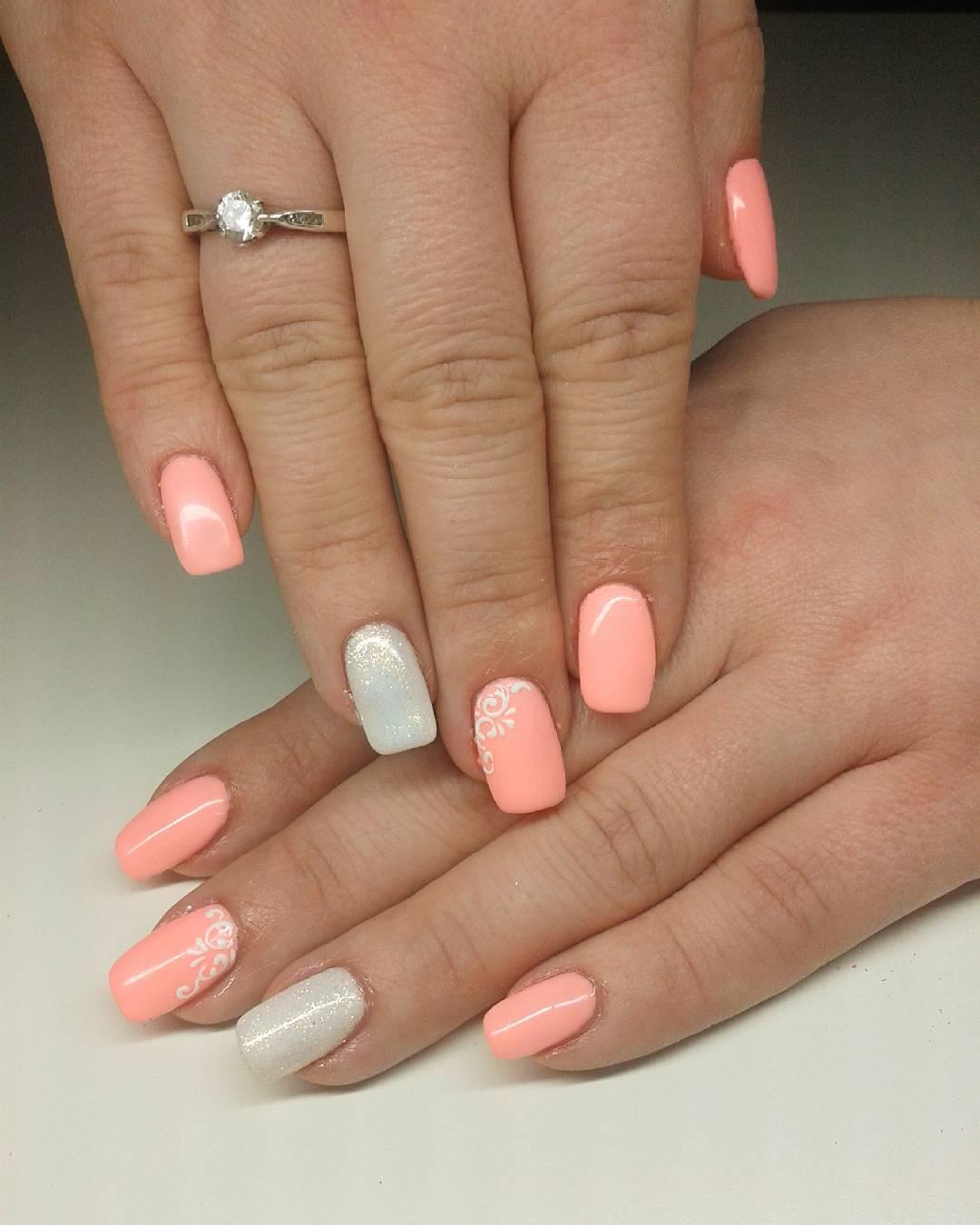 Flower Peach Nail Art Design