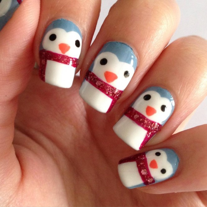 Cute Penguin Nail Art With Bow