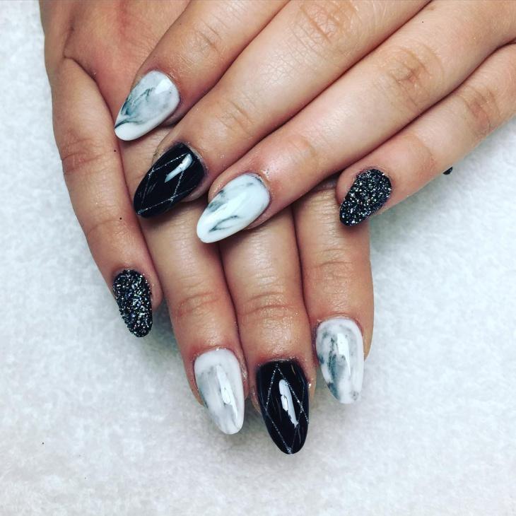 Black And White Unique Nail Art