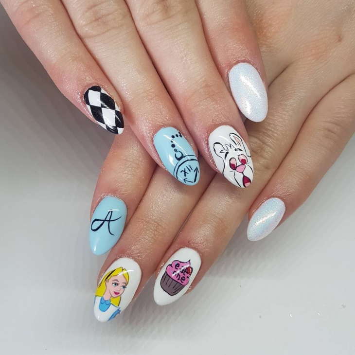 21+ Hand Painted Nail Art Designs, Ideas