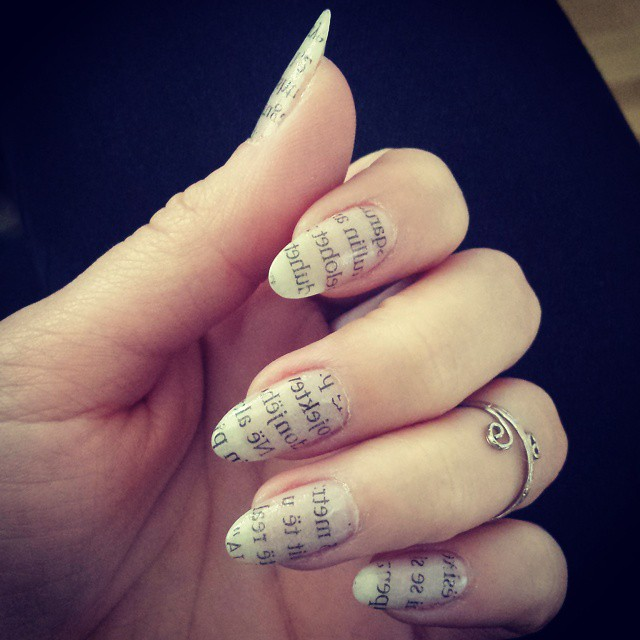 21 Newspaper Nail Art Designs Ideas Design Trends Premium