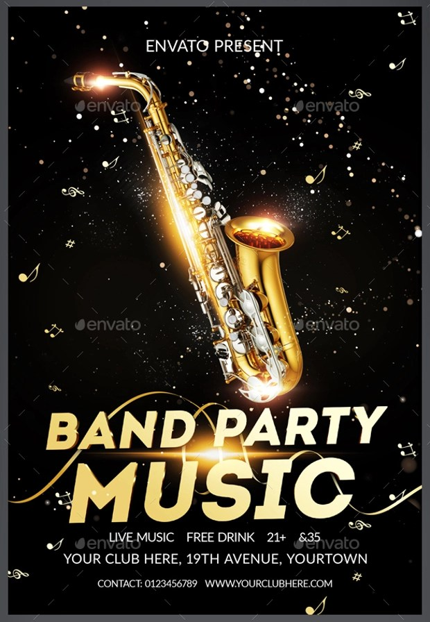 24 Band Flyer Templates  Apple Pages Ms Word Publisher