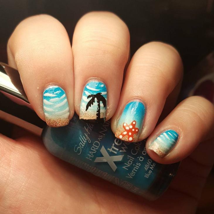 21+ Starfish Nail Art Designs, Ideas