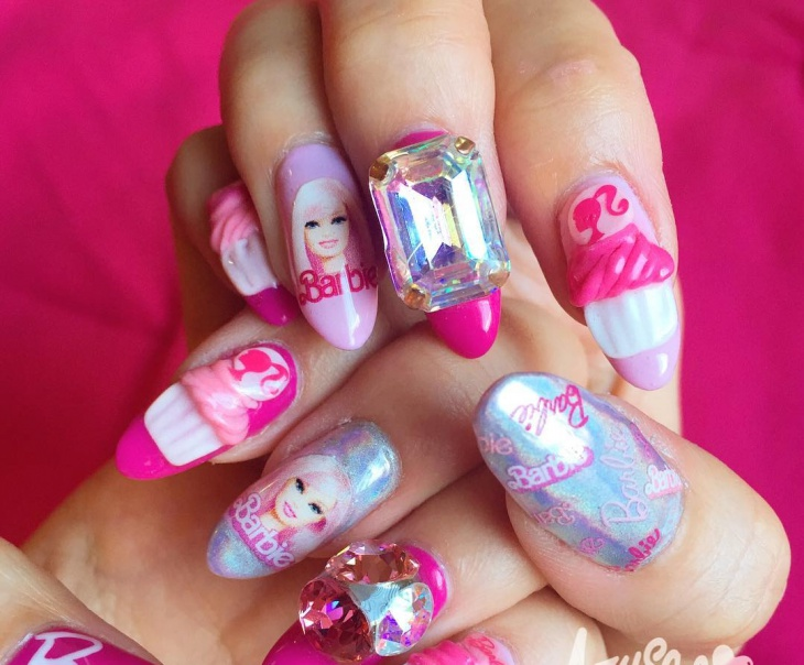 Barbie Face Nail Art Design