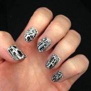 white crackle nail polish design