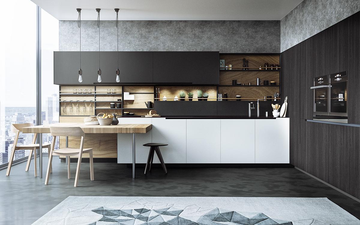 17 Monochrome Kitchen Designs Ideas  Design Trends  Premium PSD Vector Downloads
