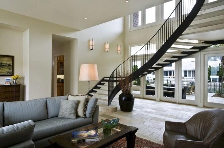 paint ideas for living room with dark furniture pics of rooms decorated christmas 17+ curved staircase designs, | design trends ...