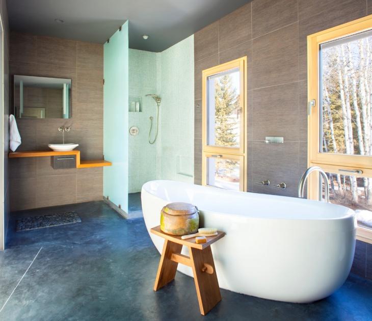 17 Concrete Bathroom Floor Designs Ideas  Design Trends